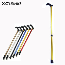 Telescopic Walking Stick Cane with Rubber Tips 6 Grade Alpenstock Aluminum Alloy Hiking Trekking Poles for Elder Camping Tools