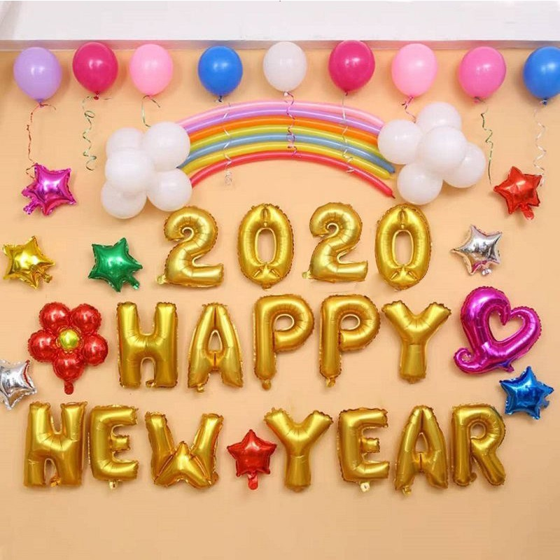16pcs HAPPY NEW YEAR 2020 Foil Balloons 16inch Number ...