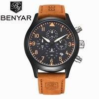BENYAR Waterproof And Shockproof Leather Quartz Watch Fashion Casual Brand Chronograph Men's Sports Watch Business Men's Watch