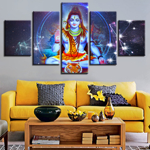 Painting HD Print Decor For Living Room Wall Art 5 Pieces Hindu God Lord Shiva And Constellation Scenery Modular Canvas Picture