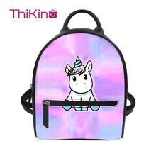цена на Thikin Cartoon Unicorn Printing Backpack for Ladies Satchel Travel Mochila PU Mini Zipper Schoolbag Student Preppy Style Bag