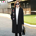 RZIV 2016 autumn and winter women coat long section of female casual solid color embroidered coat