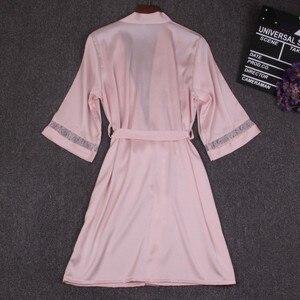Image 5 - Autumn Women Nightgown Sets 2 Pieces Nightdress Bathrobe With Chest Pad Female Satin Kimono Bath Gown Sleepwear Pink Robes Suit