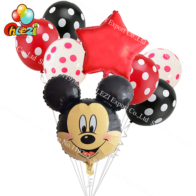 8pcs Lot Minnie Mickey Mouse Head Happy Birthday Foil Balloons