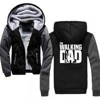 Hot The Walking Dad Thick Hoodies Men Solid Casual Men's Sweatshirts hoodie with hood Winter Warm Cardigan Moletoms Masculino