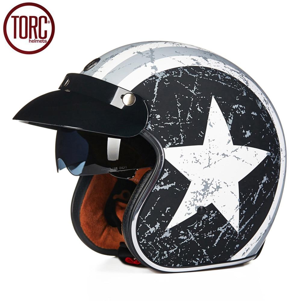 Фотография TORC Motorcycle Helmet Retro Harley Open Face Vintage Cruiser Helmet T57A Moto Casque Casco motocicleta Capacete Helmets