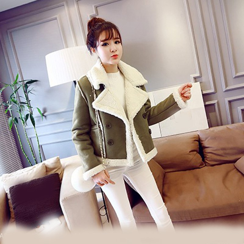 New 2018 Winter Women Faux Suede Jacket Short Lamb Warm Faux Leather Coat Casual Motorcycle Thick Biker  Coat