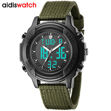 цена на Aidis Luxury Brand Watch Men Watches Fashion Nylon Canvas Fabric Strap Army Military Green Watch for Men Male Quartz Wristwatch
