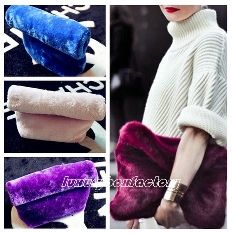 New Designer Faux Fur Roll over Women Handbag Fashion Clutch Lunch bag Purse Runway Style Bag Multi Color  Bolsa Free Shipping