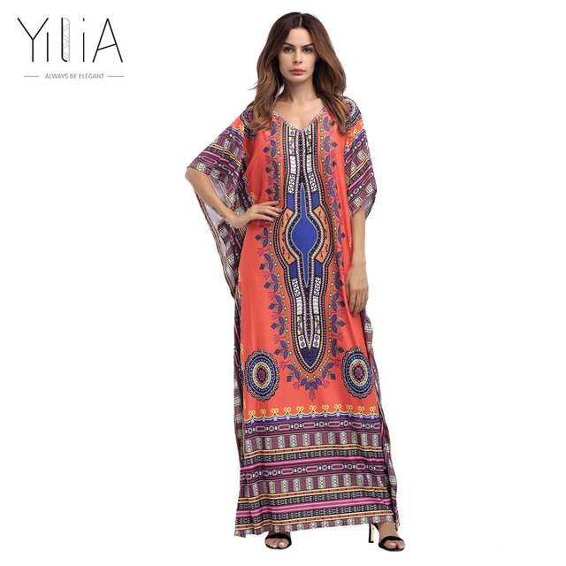 af659545430 Yilia Summer Boho Gypsy Tribal Tunic Long Maxi Dress Women Sleeve Sundress  Traditional African Print Dashiki Loose Party Dresses