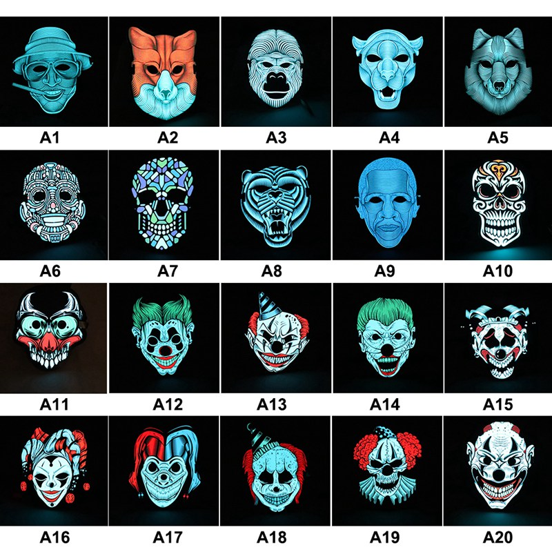 Sound Control LED Face Mask Wolf Demon Clown Rogue Etc. Shape Glowing Scary Head Masks For Halloween Party Cosplay Costume