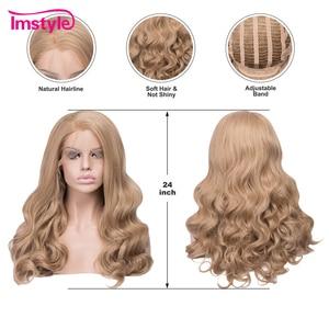 Image 3 - Imstyle 蜂蜜ブロンド合成レースの前部かつら波状のかつら耐熱繊維グルーレス自然な髪コスプレウィッグ