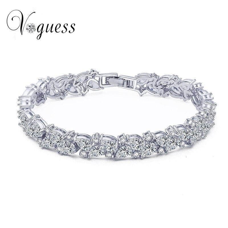 VOGUESS Luxury Bridal Bracelet AAA White Cubic Zircon Genuine Austrian Crystal