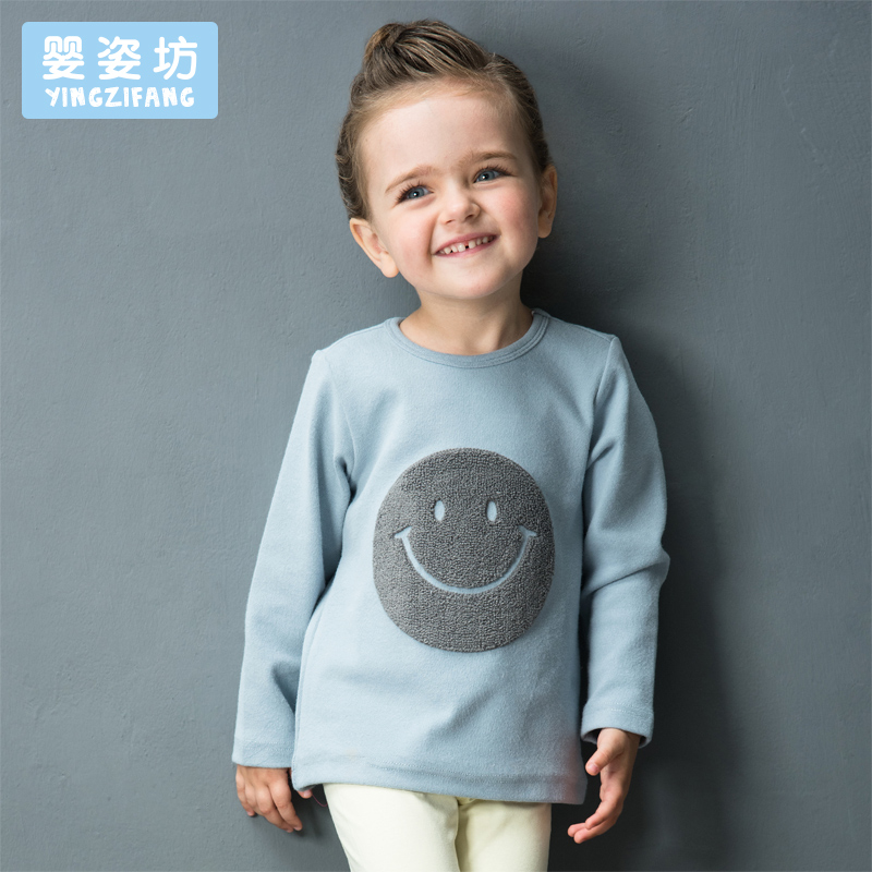 2017 New Hot Sale Full O-neck Character Regular Yingzifang Unisex Casual Sleeves Cotton Smile Face Tees Kids T-shirts