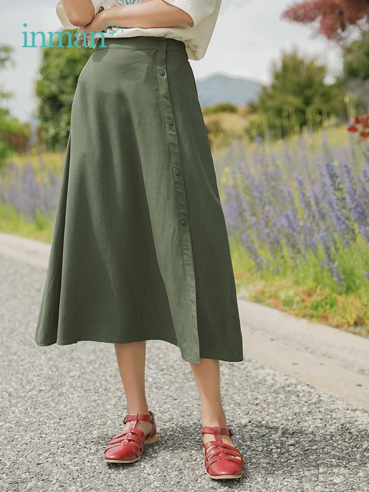 INMAN 2019 verano nueva llegada Lyocell Solid Minimalism falda elegante para mujer