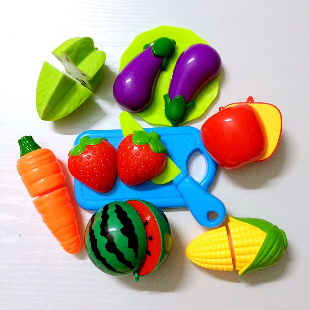 10 pcs/Set Plastic Kitchen Food Fruit Vegetable Cutting Kids Pretend Play Educational Toy Cook Safety Hot Sale Free shipping все цены