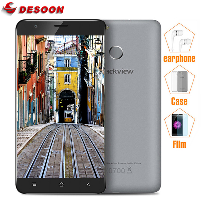 Original Blackview E7/E7S Mobile Phone 4G LTE/3G WCDMA MTK6737 1GB RAM 16GB ROM Back Touch ID 8MP Smartphone with Earphone