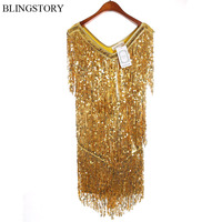 Europe Brand New Sequined Latin Dance Costumes Summer Festival Club Dress KR4007