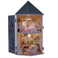DIY Love Fortress Wooden Dollhouse Handcraft Forest Building Assemble Miniature Wooden Creative Furniture LED Light Gift Doll
