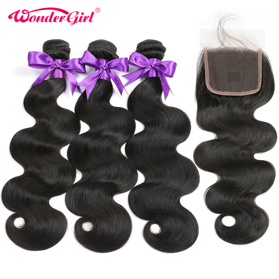 Indian Body Wave 3 Bundles With Closure 4 Pcs/Lot Human Hair Bundles With Closure Wonder girl Remy Hair Extension No Shedding