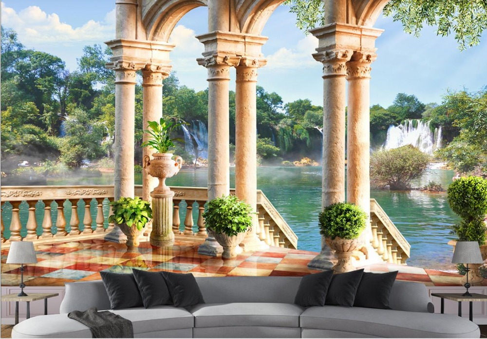 Custom 3d Mural Wallpapers Hd Landscape Mountains Lake: Custom 3d Mural Wall Scenery Wallpaper Roman Column Lake