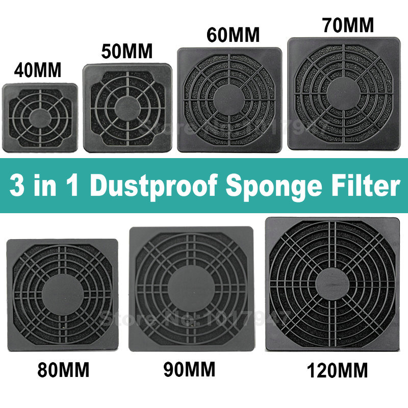 Gdstime PC Dust Cover Case 3 In 1 Fan Dustproof Sponge Filter Mesh 40mm 50mm 60mm 70mm 80mm 90mm 120mm Optional