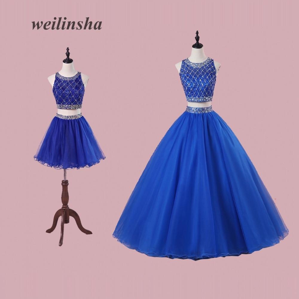 Weilinsha détachable luxueux Robe de soirée Robe de soirée haut court fête Quinceanera robes longues perles cristal Robe de sor ee