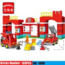 109pcs Big Blocks City Fire department Firemen Building Blocks set Kids DIY Bricks Creative Toys Compatible Duploe
