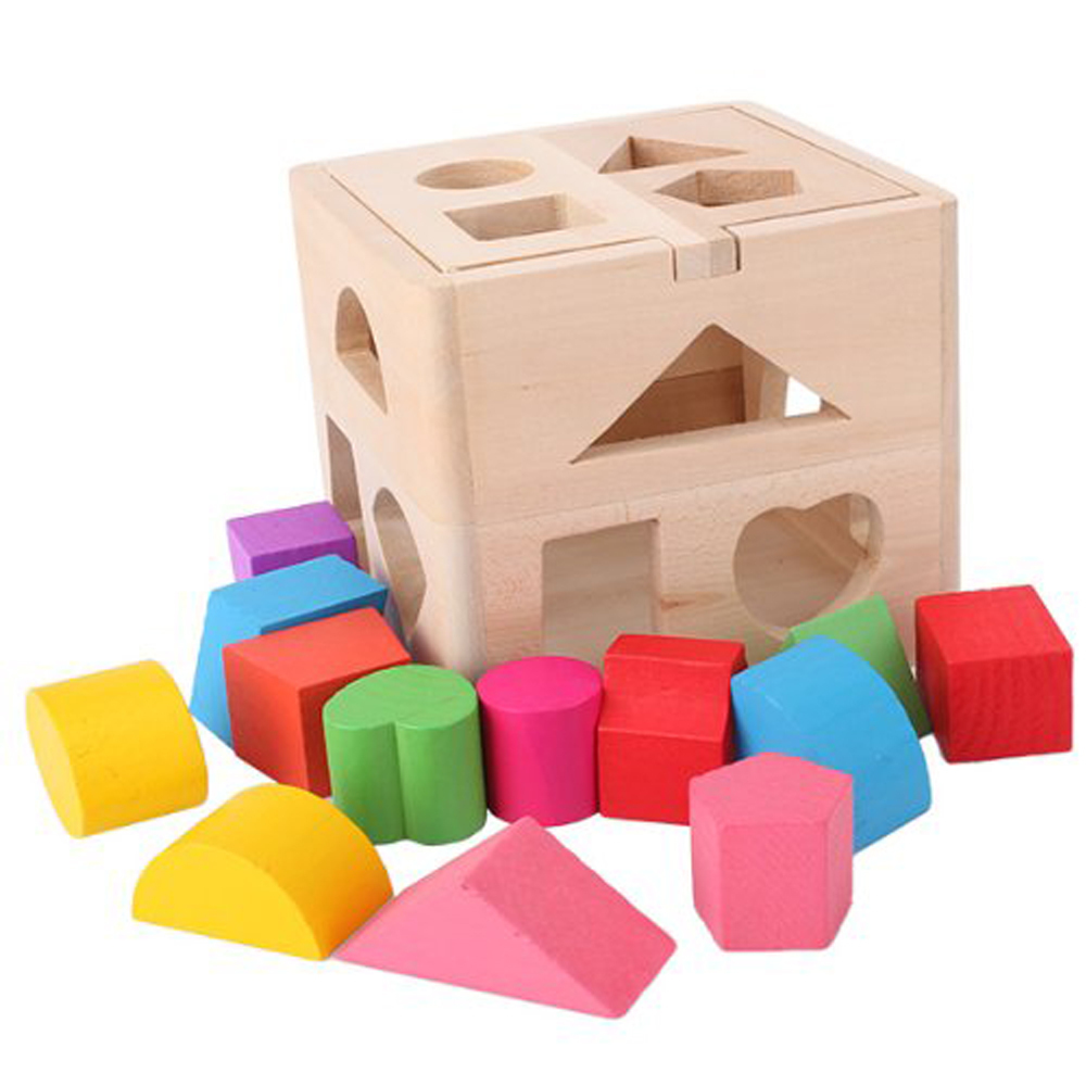 Safety Kids Colorful Educational Game Toy 13 Hole Shape Matching Wooden Building Blocks
