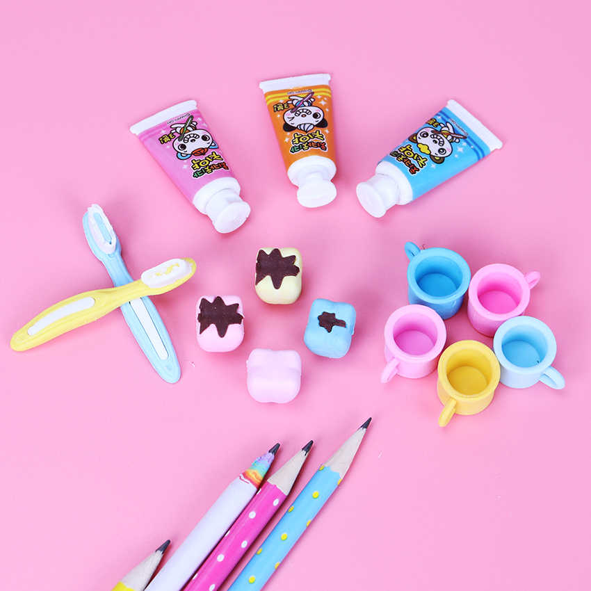 4 יח'\סט חדש אופנה שן בצורת מחק גומי מכתבים מתנת ילד חמוד תלמידים ספקי