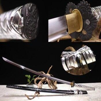 Handmade Japanese Samurai Sword 1060 High Carbon Steel Full Tang  Katana Silver Leather Cord Black Wood Sheath-Special Offer
