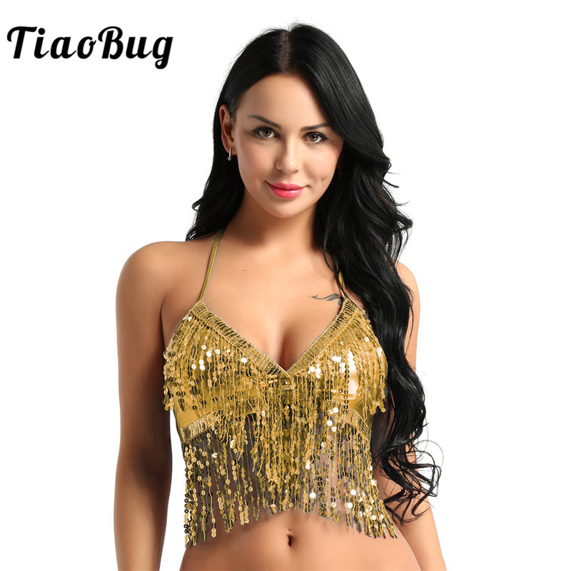 TiaoBug Women Fashion Halter Bra Top With Sequins Tassel Latin Belly Dance Costume Club Party Festival Rave Dance Sexy Crop Tops