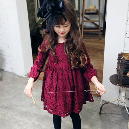 Wine Color Little Girl Lace Dress With Big Bow Baby Children Kids Korean Cute Clothing Big