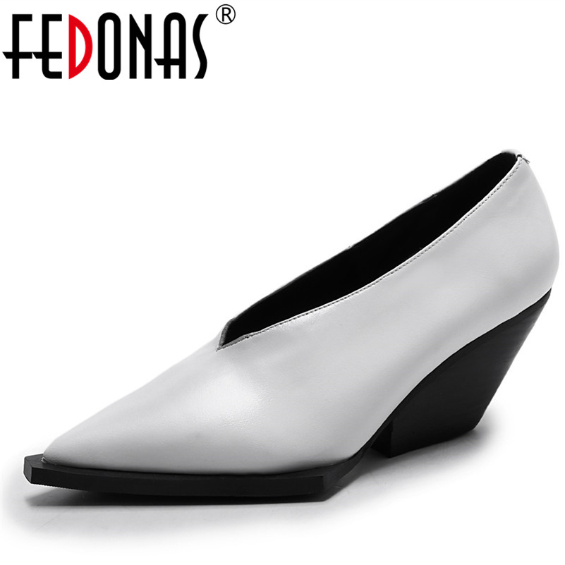 FEDONAS New Brand Shoes Woman High Heels Pumps Nude Genuine Leather Office Shoes Black White Pointed
