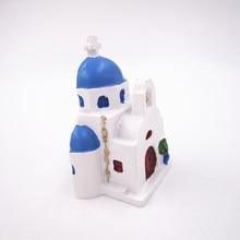 Greece Hand Painted 3D Resin Fridge Magnet Souvenir Blue Roof Church in Santorini Countrie Tourism Magnetic Massage Sticker Gift