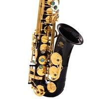 Messing Gravierte Eb E Flache Alto Saxophon Sax Abalone Shell Tasten Wind Instrument mit Fall Handschuhe Reinigung Tuch Gürtel pinsel-in Saxophone aus Sport und Unterhaltung bei