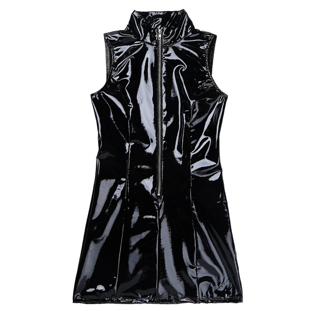 iEFiEL Womens PVC Wet Look Leather Halter Collar Front Zip Up Bodycon Mini Dress Clubwear