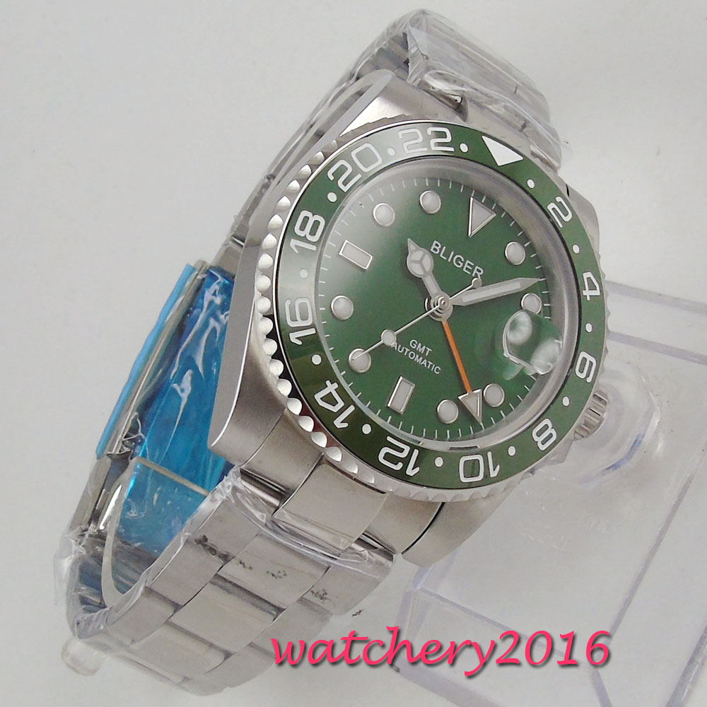 40mm Bliger Green Dial Sapphire Glass GMT Green Ceramic Bezel Date LUME SS Top Brand Mechanical Automatic Movement mens Watch green top