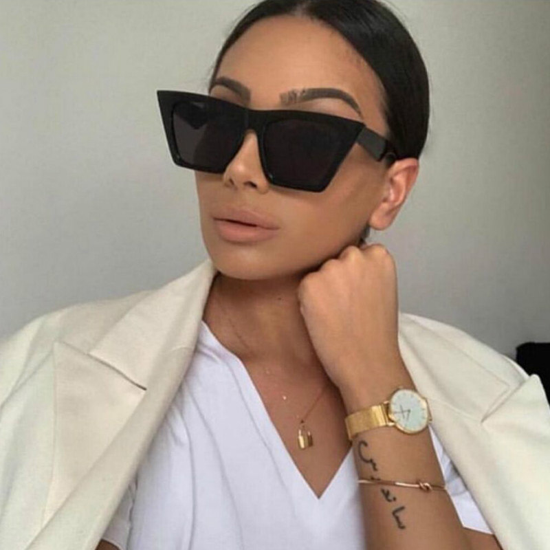2019 new brand sunglasses Square glasses Personalized cat eyes Colorful sunglasses trend versatile sunglasses uv400 curtain image