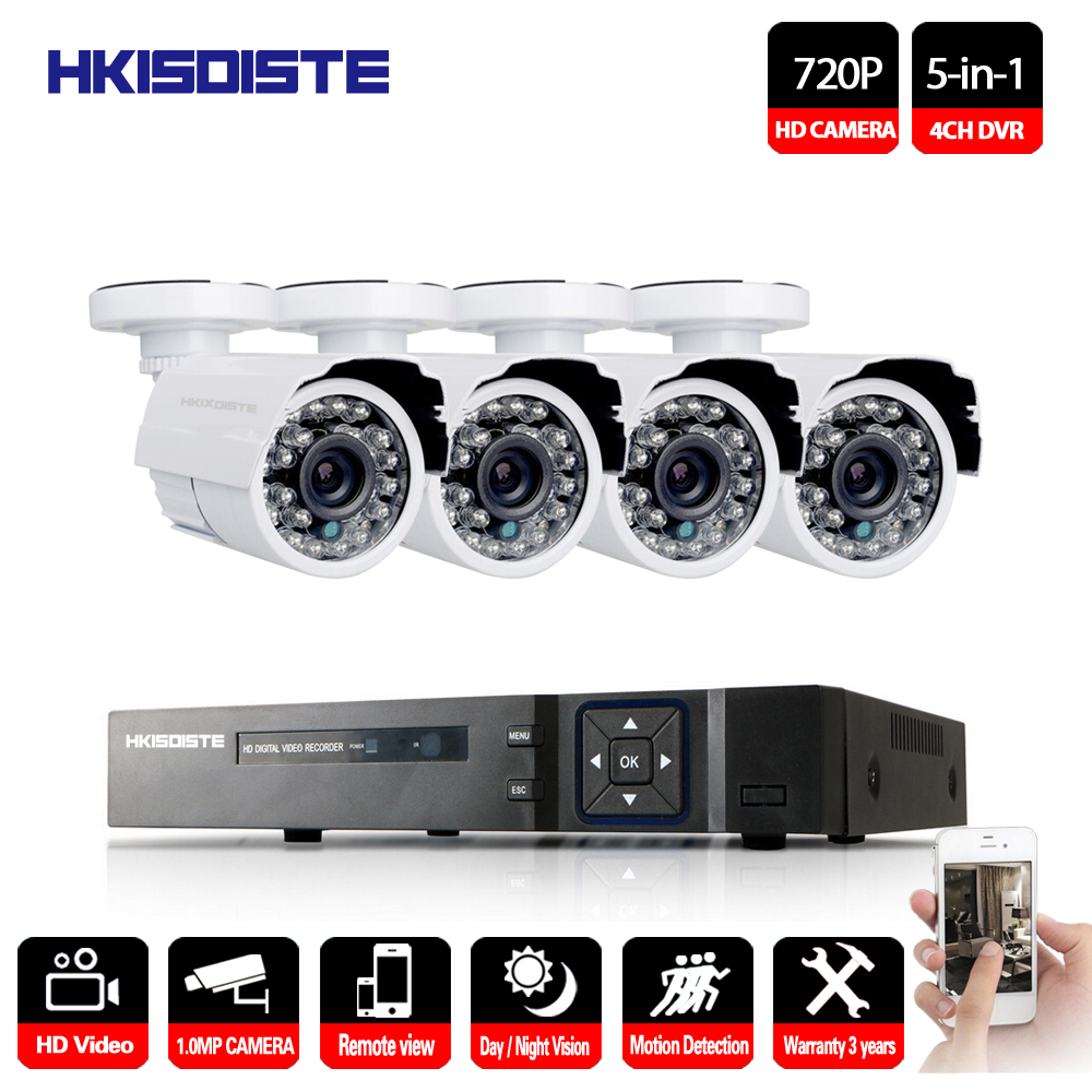 4CH 1080P HD DVR AHD Security Camera System & 720P IR Waterproof CCTV Camera Outdoor Home Video Surveillance Kit Email Alarm
