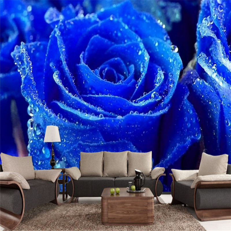 custom modern photo wallpaper mural 3D blue rose TV background wall painting non-woven wallpaper home decoration for bedroom free shipping european tv background wall painting non woven wallpaper living room wallpaper modern rose wallpaper mural