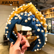 AWAYTR Wide Pearl Headband Women Simple Fabric Hairband Korean Knotted Hair Accessories Sweet Fashion Headwear for Girls