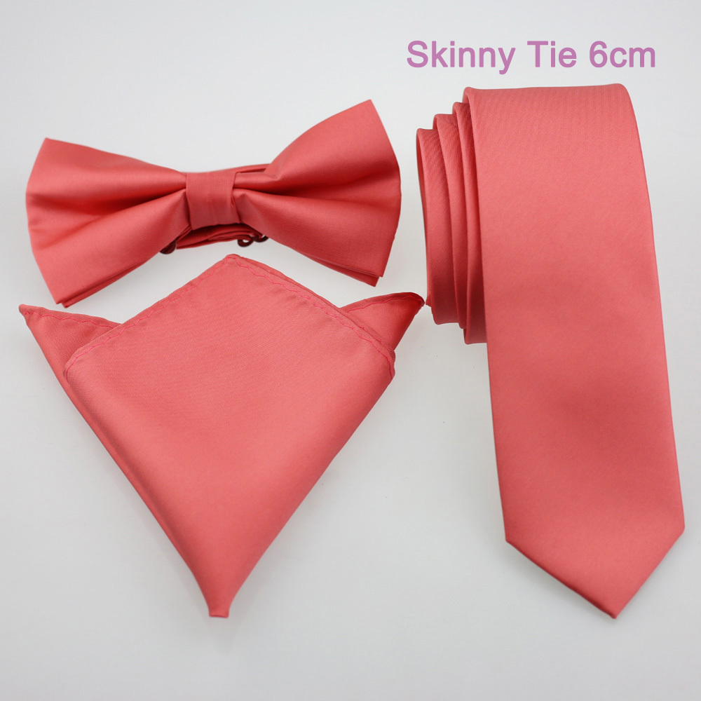 YIBEI Coachella Ties Plain Peach Coral Pink Solid Color