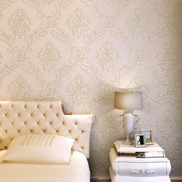 Online Shop Lusso europeo Beige Damasco 3D Wallpaper Per Pareti ...