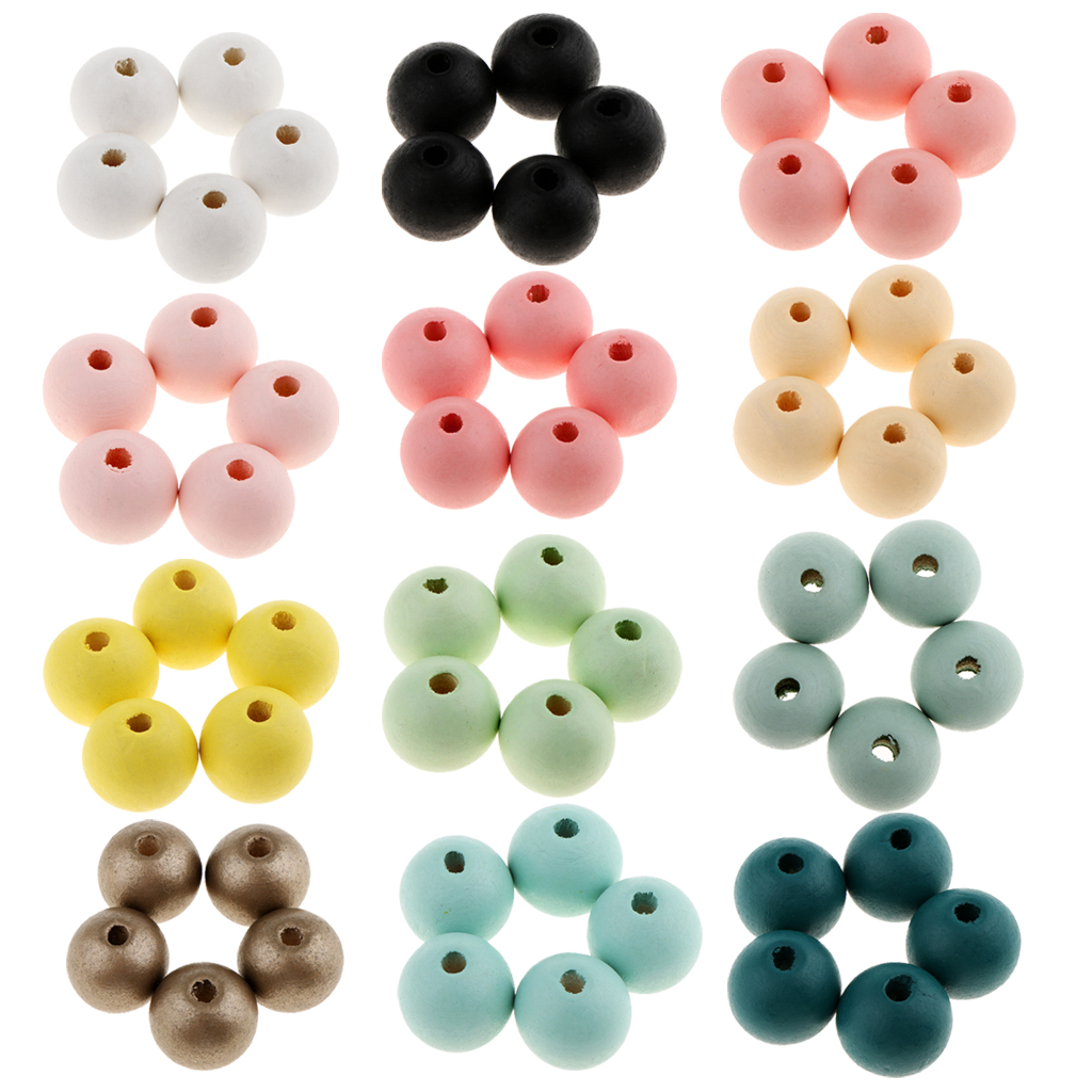Phenovo 30 Pcs/Pack Round Ball Natural Wood Beads DIY Jewelry Craft Making 18mm Spacer Loose Beads Multi Color Handmade Jewelry искусственные цветы для дома weijing 1 51 25 diy 1 51 rose craft