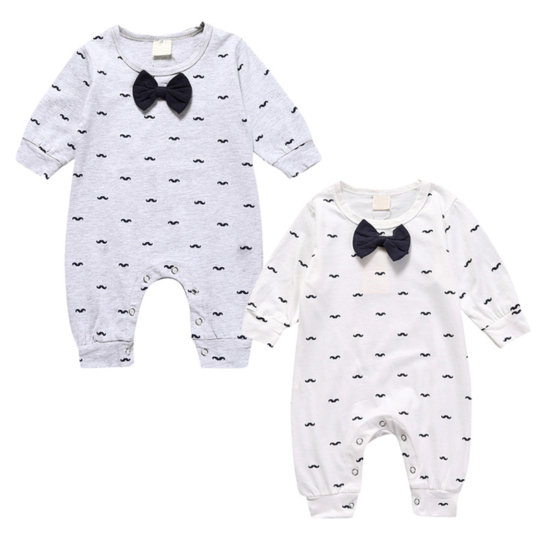 Baby Boys Rompers Newborn Boys Romper Bebe Toddler Clothes Bow tie mustache Summer Clothing 2017 Jumpsuit