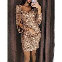 Сексуальная Женская флэш-шелковая ткань кисточкой длинный рукав вечернее платье v-образный вырез Высокая талия модная одежда сумка Хип спл...