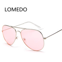 Newest Fashion Ocean Sunglasses For Women Brand Metal Frame Yellow Sunglasses Pink Lens Sun Glasses Yellow Aviator Summer