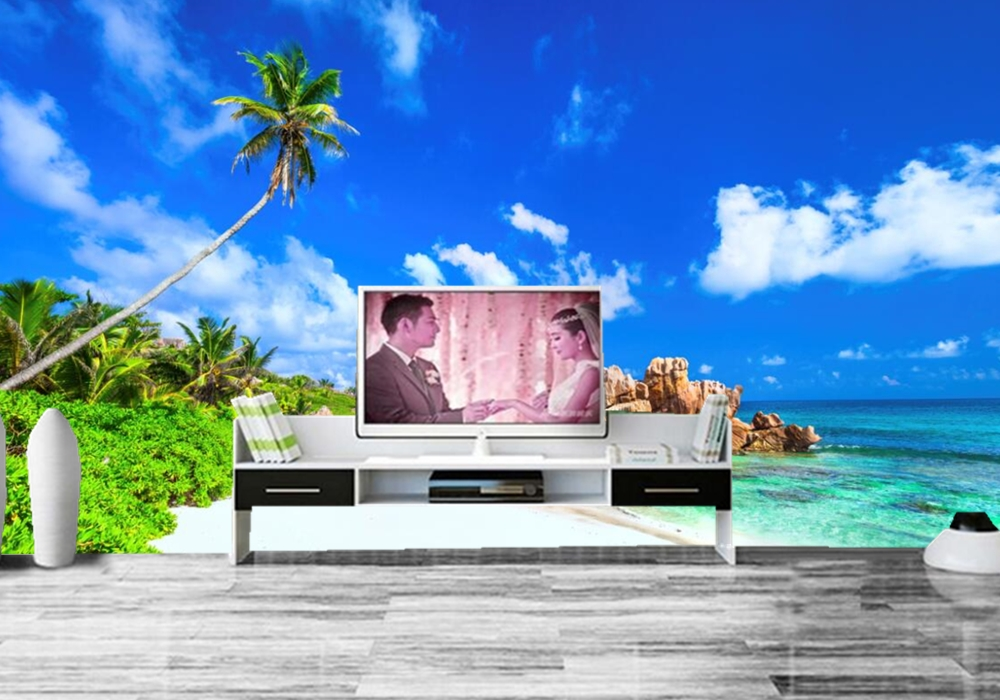 Scenery Sky Tropics Coast Sea Beach Nature photo wallpaper,living room TV wall bedroom KTV restaurant bar wall 3d wallpaper
