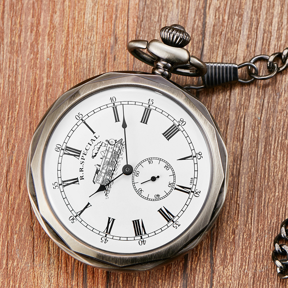 Retro Vintage Carved Exquisite Dial Mechanical Pocket Watch FOB Chain Luxury Grey Roman Numeral Hand Wind Men Clock Pocket Watch